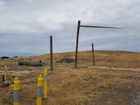 Lateral load testing timber driven pile