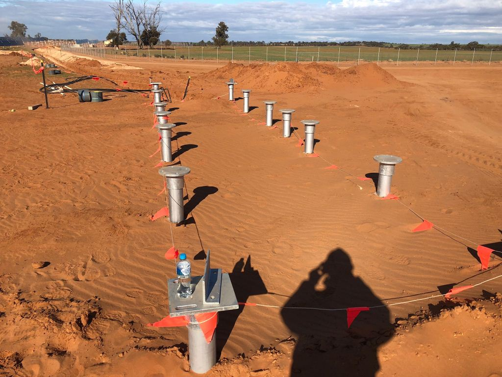 Solar farm invertor screw pile footing